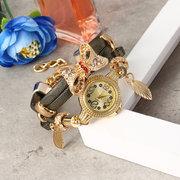 أزياء بونوت جولة الطلب كوارتز ساعة نسائية سوار ووتش متعدد الطبقات جلدية ووتش للنساء