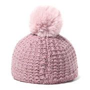Women Solid Knitted Baseball Cap With Fur Ball Pompoms Casual Warm Winter Hat