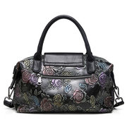 Brenice Genuine Leather Embosssing Shoulder Bags National Style Crossbody Bag para mulheres