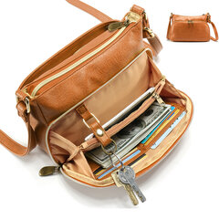 Women Multi-pockets Solid PU Leather Crossbody Bag Shoulder Bag