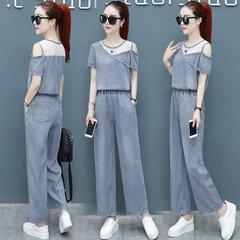 Сезон новый с короткими рукавами спортивный костюм брюки брюки свободные моды повседневная женская джинсовая из двух частей