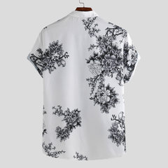Mens Estilo Chinês Porcelana Floral Impresso Manga Curta Turn Down Collar Casual Camisa