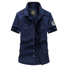 Outdoor Casual Cotton Short Sleeve Double Chest Pockets Cargo Dress Shirts for Men
