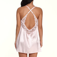 Sexy Lace Crocheted Criss-cross Voltar Cetim Chemise Nightwear