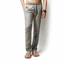 Homme Pantalons Longues Lâches De Loisir En Lin Couleur Pure Pour Printemps Été