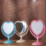 Makeup Mirror Heart Shape 2 Side Rotat Stand Table Plastic Dresser Mirrors Cosmetic Tool