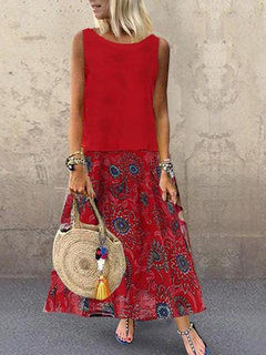 Bohemian Print Two Pieces Summer Plus Tamaño Vestido con bolsillos