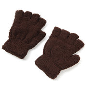 Coral Fleece Fingerless Gloves Pure Color Soft Thicken Thermal Short Mittens