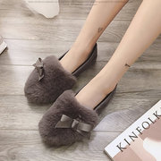 Fur Lining Warm Flat Shallow Mouth  Soft Loafers For Women