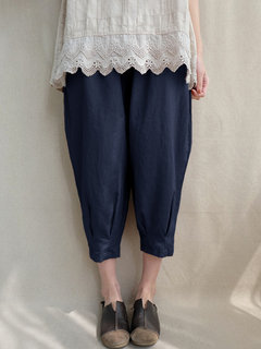 Solid Color Pleated Elastic Waist Plus Size Harem Pants with Pockets