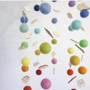 Wood Plush Ball Pendant Wind Chimes Kids Room Home DIY Hanging Decor Wind Bell