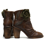 SOCOFY Sooo Comfy Vintage Handmade Floral Stitching Zipper Leather Ankle Boots For Women