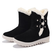 Buckle Decoration Suede Fur Lining Winter Boots