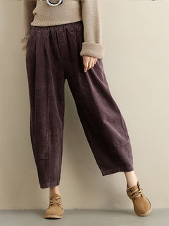 Loose Women Pure Color Elastic Waist Pockets Corduroy Pants