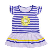 Girls Kids Striped Clothes Set Sunflower T-shirt + Short Pants For 3Y-11Y