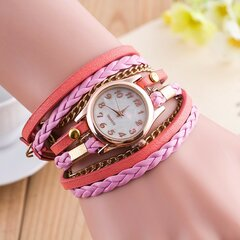 Multilayer PU Leather Band Wrap Bracelet Wrist Watches for Women
