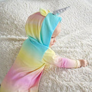 Colorful Unicorn Baby Hooded Romper Jumpsuit For 0-24M
