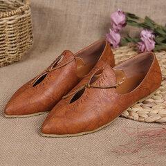 Grande taille bout pointu glissement sur évider chaussures plates occasionnels vintage