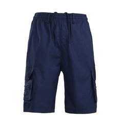 Mens Summer Multi-pocket Knee Length Cargo Shorts Solid Color Casual Breathable Cotton Shorts