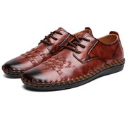Menico Men Hand Stitching Woven Style Non Slip Soft Sole Leather Shoes