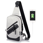 Oxford Casual Sport USB Charging Port Sling Bag Chest Bag Crossbody Bag For Men