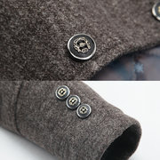 Winter Woolen Coat Stylish Detachable Scarf Warm Plaid Lining Jacket for Men