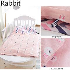 3Pcs Newborn Baby Soft 100% Cotton Bedding Set Cartoon Animal Crib Bedclothes