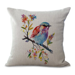Watercolor Bird Floral Style Linen Cotton Cushion Cover Soft-touching Home Sofa Office Pillowcases