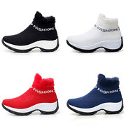 Large Size Women Comfortable Mesh Fur Lining Platform Shoes Casual Boots