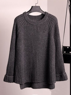 Woven Casual Solid Color O-neck Sweaters
