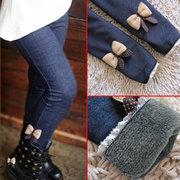 As meninas do remendo do Curva-Nó engrossam Calças Leggings do inverno das crianças para 3Y-13Y