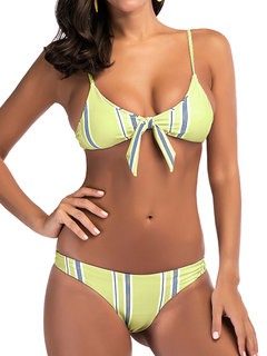 Sexy Vertical Stripe Bowknot Spaghetti Strap Backless Bikinis Swimwear
