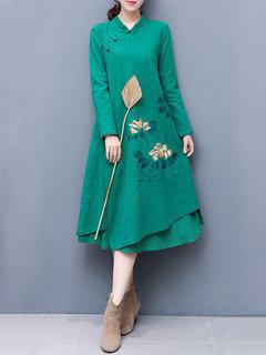 Vestido casual amplio estilo chino de doble capa para mujeres