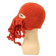 Homens Mulheres Inverno Quente Octopus Cap Lula De Malha De Crochê De Lã De Esqui Rosto Máscara Gorro Chapéu