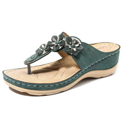 Chanclas de color LOSTISY Match Match con cuentas casual Playa Sandalias