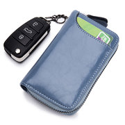 Men And Women Genuine Leather Key Holder Wallet 6 Key Holder Short Card Holder Purse