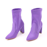 Plus Size Pointed High Heels Solid Color Ankle Boots For Women