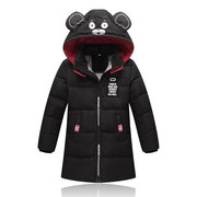 Bear Print Girls Boys Hooded Downs Parka Kids Cappotto spesso per 4Y-11Y