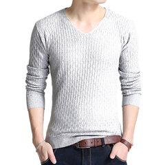 Mens Short Solid Color V-Ausschnitt Langarm Slim Fit Lässige Strickpullover