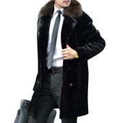 Men's Mid Long Fax Fur Collar Winter Warm Loose Double-breasted Wool Jacket Coat