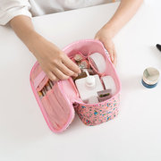 Women Faux Leather Wash Bag Waterproof Printing Travel Cosmetic Bag