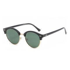 Fashion Vintage UV400 Outdoor Shades Women Mens Retro Round Polarized Sunglasses Half Frame
