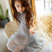 Vintage Chinese Style Girls Short Sleeve Tulle Princess Dress For 4Y-15Y
