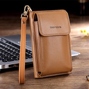 Women Genuine Leather Multi-function Phone Purse 7 Card Slot Oil Wax Solid Coin Bag