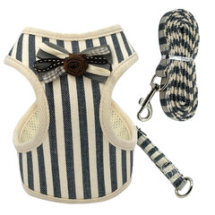Pet Dog Cat Soft Mesh Harness Leash Set with Bell Puppy Harness with Leash