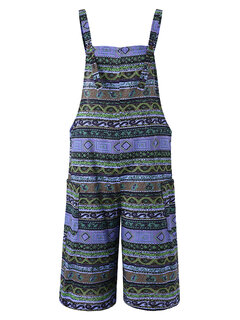 Bohemian Print Strap Plus Size Rompers with Pockets