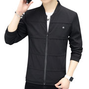 Mens Windproof Lightweigh Striped Stand Collar Washed Top Outwear Fashion Zipper Jacket
