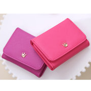 Women PU Leather Card Holder Coin Bag Cute Trifold Wallet