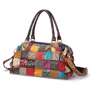 Frauen Bohemian Large Capacity Echtes Leder Handtaschen Patchwork Handgemachte Umhängetaschen