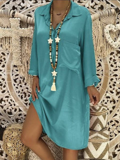 Solid Color Long Sleeve Casual Mid-calf Dress For Women